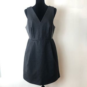 Madewell Leather Inset Ponte Black Sheath Dress 12